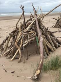 Driftwood huts on St Cyrus beach