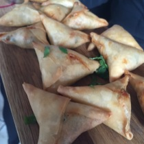 Smoked salmon and goats cheese in filo pastry