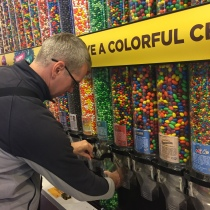 The Bloke getting far too many M&M's at the store on Times Square