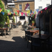 The beautiful open beer garden outside