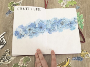 Gratitude Journal Spread Idea by Bullet Journal Becca