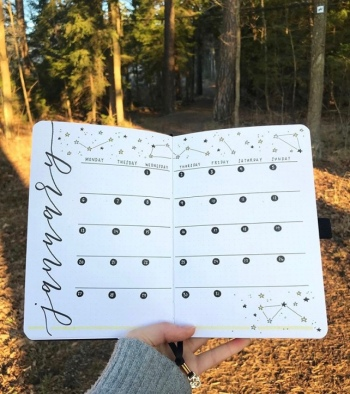 Great Bullet Journal Spread Ideas for January bulletwithe