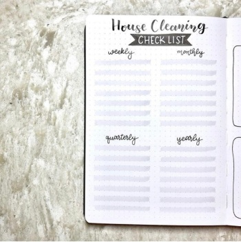 Great Bullet Journal Spread Ideas for January Cleaning Tracker Bujo Escape