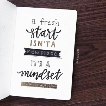 Great Bullet Journal Spread Ideas for January Quote Dots by N