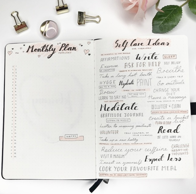 Great February Bullet Journal Ideas Monthly Plan and Self Care Ideas