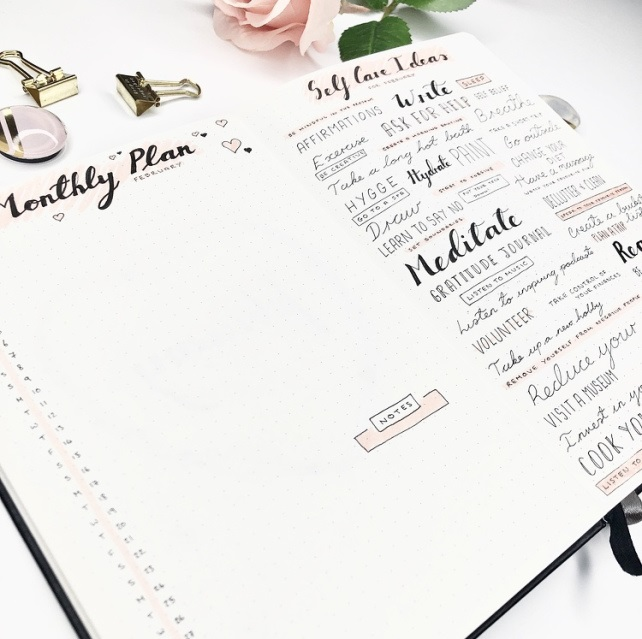 Great February Bullet Journal Self Care Ideas