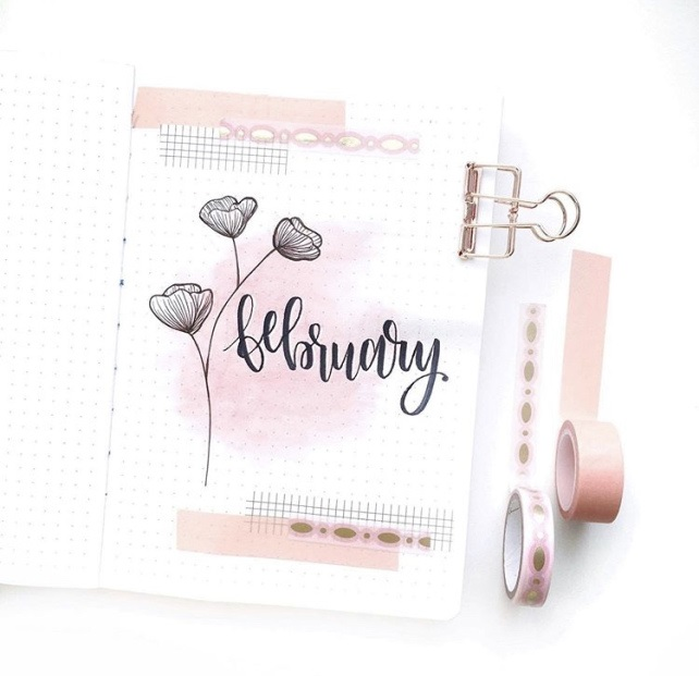 Great February Bullet Journal Spread Ideas Cover Page Mochi Moon Studio