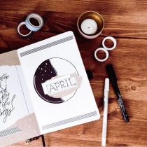 Great Bullet Journal Spread Ideas for April Cover Page lisenlettering