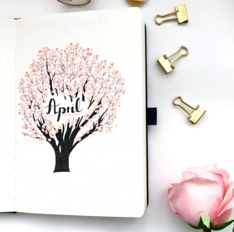 Great Bullet Journal Spread Ideas for April Cover Page Spread Suzie Speaks