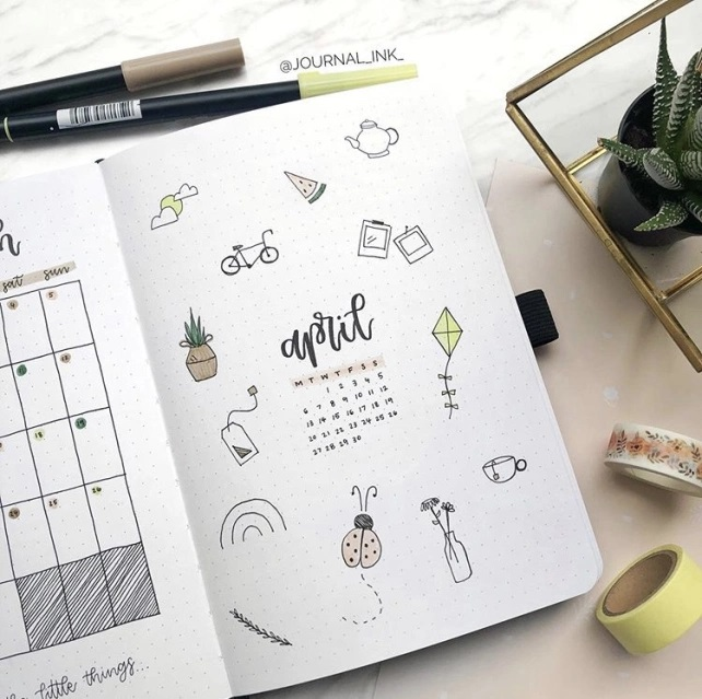Great Bullet Journal Spread Ideas for April Cover Page the journal ink