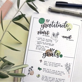 Great Bullet Journal Spread Ideas for April Gratitude and Goals the journal ink