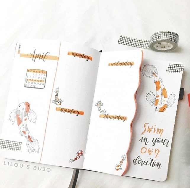 Great Bullet Journal Spread Ideas for April L1lou weekly spread