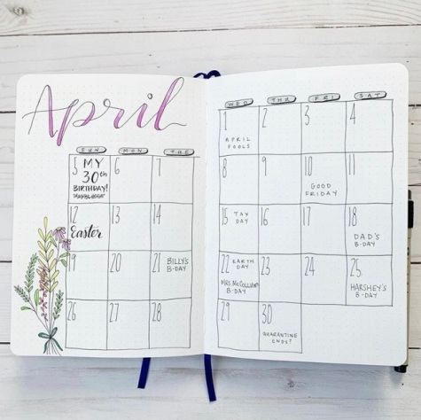 Great Bullet Journal Spread Ideas for April Monthly Calendar Spread mybujoyesterday