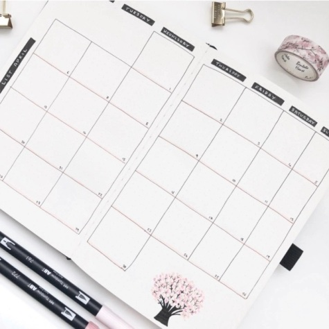 Great Bullet Journal Spread Ideas for April Monthly Calendar Spread Suzie Speaks