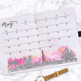 Great Bullet Journal Ideas for May Paris Weekly Spread Journal with Kate