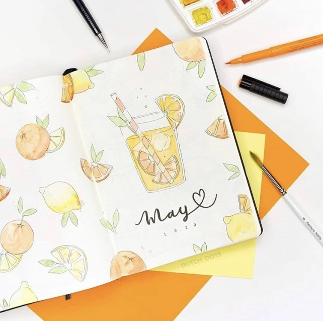 Great Bullet Journal Spread Ideas for May Cover Page Dutch Dots