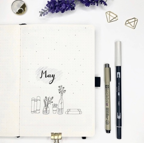 Great Bullet Journal Spread Ideas for May Cover Page Suzie Speaks