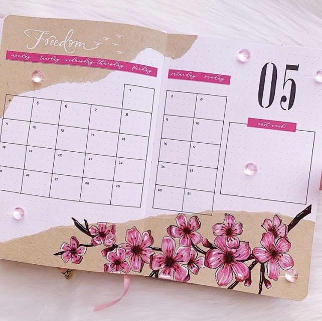 Great Bullet Journal Spread Ideas for May Monthly Spread Journal with Kate