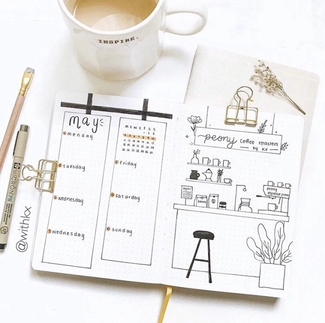 Great Bullet Journal Spread Ideas for May Weekly Spread Kelly