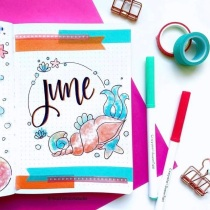 Great Bullet Journal Spread Ideas for June Cover Page Mochi Moon