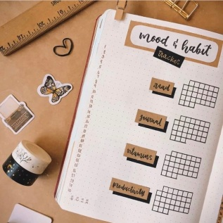 Great Bullet Journal Spread Ideas for June Mood and Habit Tracker nyxarts