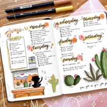 Great Bullet Journal Spread Ideas for June Weekly Spread Julianne Doodles