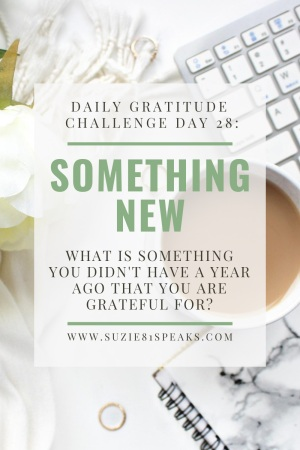 Daily Gratitude Challenge What IS SOMETHING YOU DIDN'T HAVE A YEAR AGO THAT YOU ARE GRATEFUL FOR